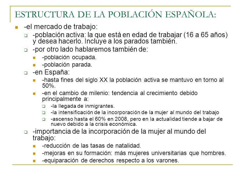 ESTRUCTURA DE LA POBLACIÓN ESPAÑOLA: -el mercado de trabajo: -población activa: la que está en edad de trabajar (16 a 65 años) y desea hacerlo. Incluy