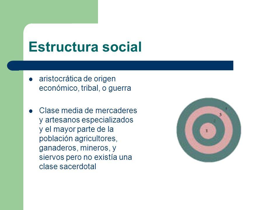 Estructura social aristocrática de origen económico, tribal, o guerra Clase media de mercaderes y artesanos especializados y el mayor parte de la pobl