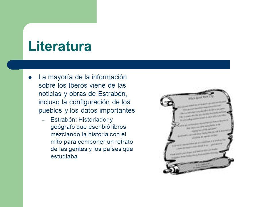 Literatura La mayoría de la información sobre los Iberos viene de las noticias y obras de Estrabón, incluso la configuración de los pueblos y los dato