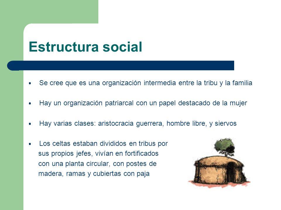 Estructura social Se cree que es una organización intermedia entre la tribu y la familia Hay un organización patriarcal con un papel destacado de la m