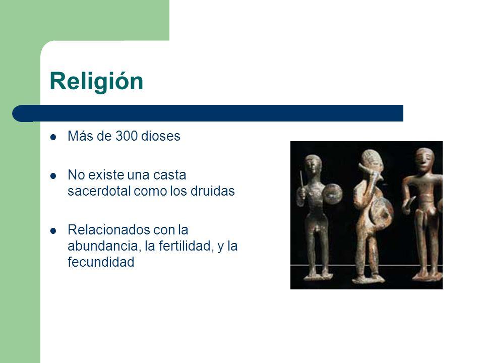 Religión Más de 300 dioses No existe una casta sacerdotal como los druidas Relacionados con la abundancia, la fertilidad, y la fecundidad