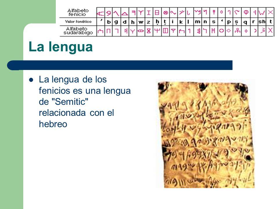 La lengua La lengua de los fenicios es una lengua de