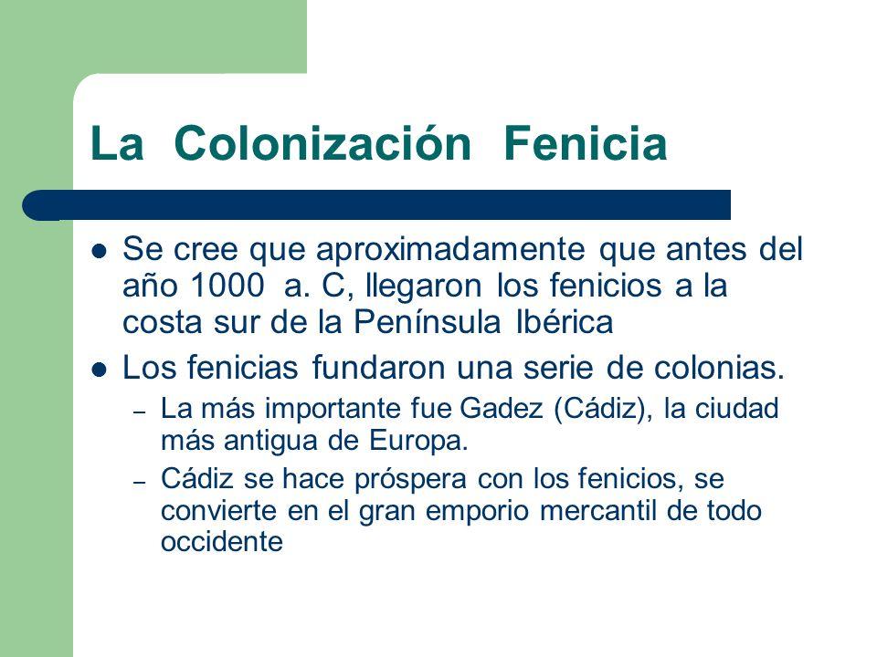 La Colonización Fenicia Se cree que aproximadamente que antes del año 1000 a. C, llegaron los fenicios a la costa sur de la Península Ibérica Los feni