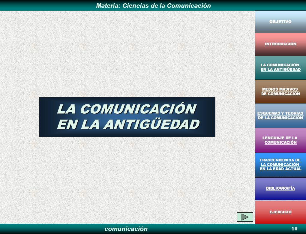 comunicación Materia: Ciencias de la Comunicación 10 LA COMUNICACIÓN EN LA ANTIGÜEDAD OBJETIVO MEDIOS MASIVOS DE COMUNICACIÓN LA COMUNICACIÓN EN LA AN