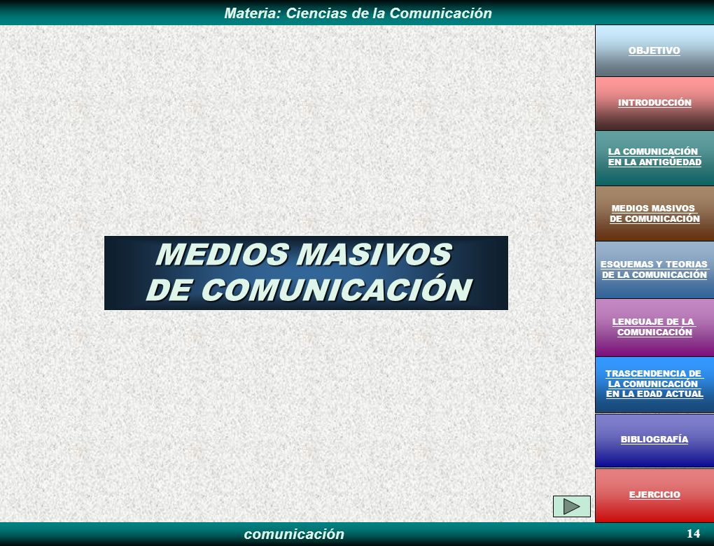 comunicación Materia: Ciencias de la Comunicación 14 MEDIOS MASIVOS DE COMUNICACIÓN OBJETIVO MEDIOS MASIVOS DE COMUNICACIÓN LA COMUNICACIÓN EN LA ANTI