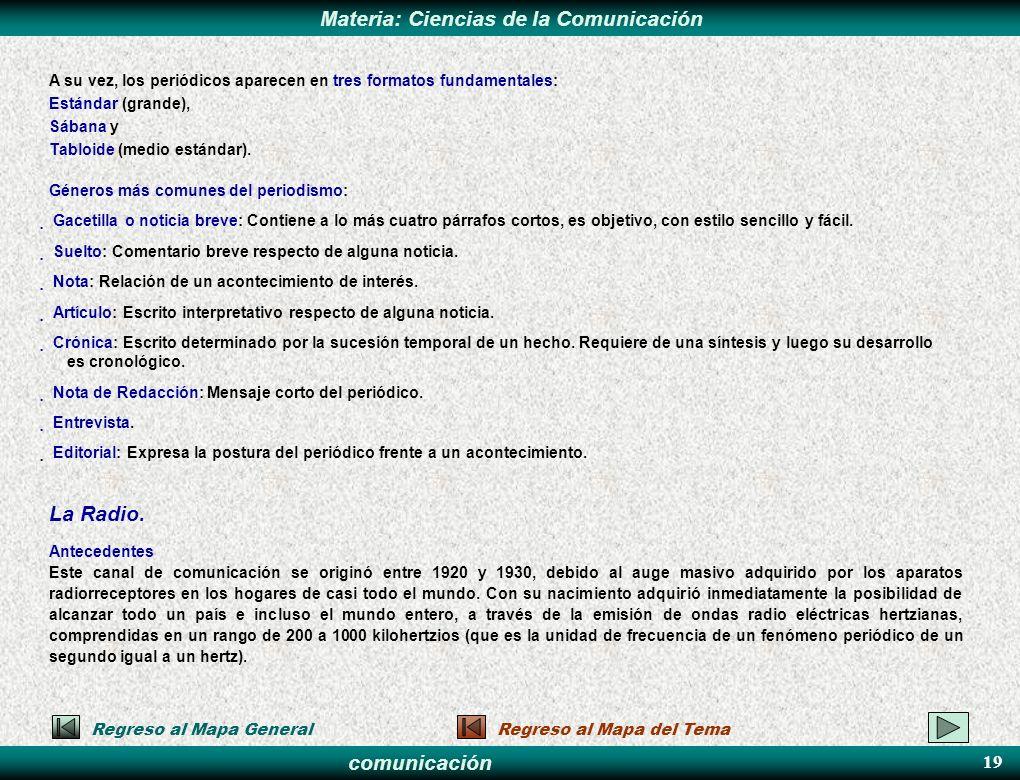 comunicación Materia: Ciencias de la Comunicación A su vez, los periódicos aparecen en tres formatos fundamentales: Estándar (grande), Sábana y Tabloi