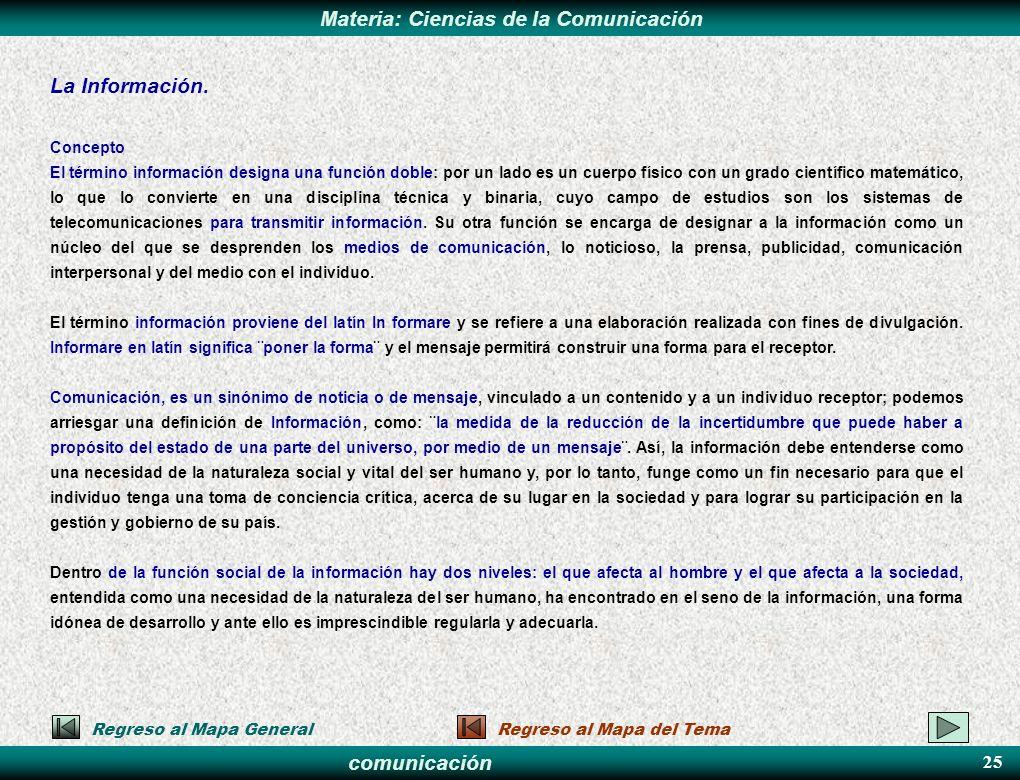 comunicación Materia: Ciencias de la Comunicación La Información. Concepto El término información designa una función doble: por un lado es un cuerpo