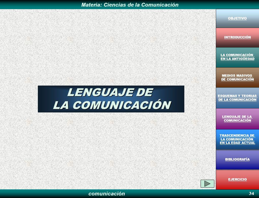 comunicación Materia: Ciencias de la Comunicación 34 LENGUAJE DE LA COMUNICACIÓN OBJETIVO MEDIOS MASIVOS DE COMUNICACIÓN LA COMUNICACIÓN EN LA ANTIGÜE