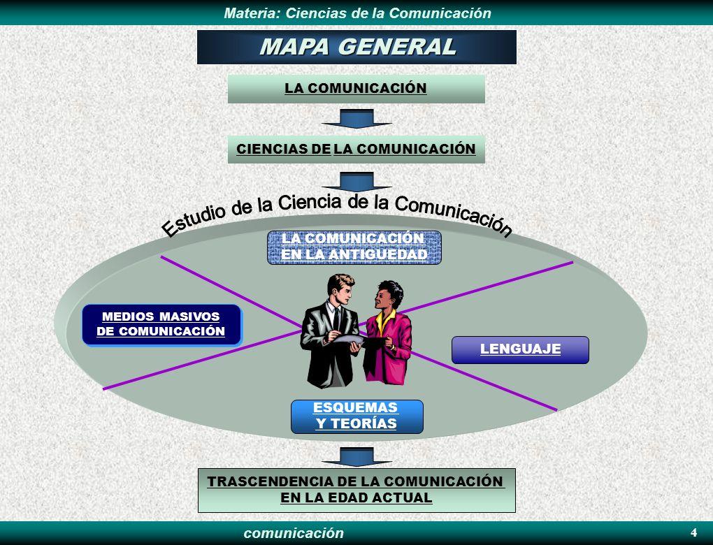 comunicación Materia: Ciencias de la ComunicaciónINTRODUCCIÓN 5 OBJETIVO MEDIOS MASIVOS DE COMUNICACIÓN LA COMUNICACIÓN EN LA ANTIGÜEDAD ESQUEMAS Y TEORIAS DE LA COMUNICACIÓN LENGUAJE DE LA COMUNICACIÓN TRASCENDENCIA DE LA COMUNICACIÓN EN LA EDAD ACTUAL BIBLIOGRAFÍA EJERCICIO INTRODUCCIÓN