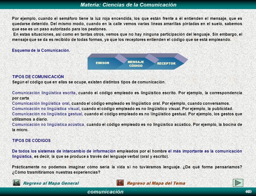 comunicación Materia: Ciencias de la Comunicación 40 Regreso al Mapa GeneralRegreso al Mapa del Tema Por ejemplo, cuando el semáforo tiene la luz roja