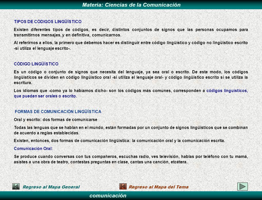 comunicación Materia: Ciencias de la Comunicación Regreso al Mapa GeneralRegreso al Mapa del Tema TIPOS DE CÓDIGOS LINGÜÍSTICO Existen diferentes tipo