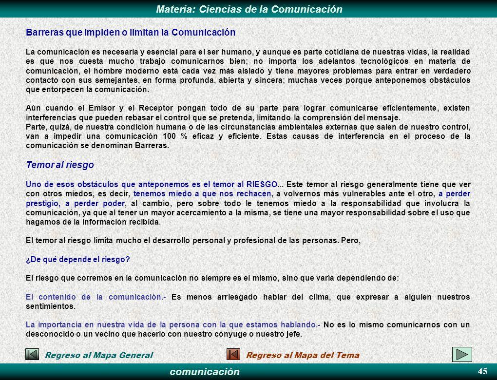 comunicación Materia: Ciencias de la Comunicación Barreras que impiden o limitan la Comunicación La comunicación es necesaria y esencial para el ser h