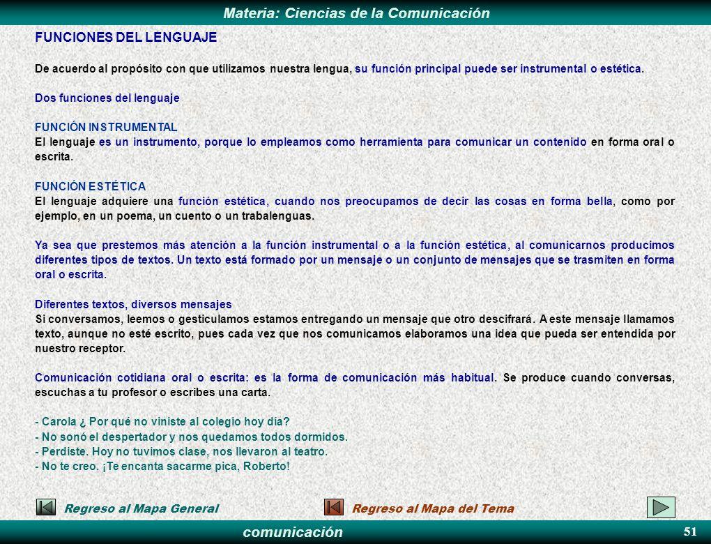 comunicación Materia: Ciencias de la Comunicación FUNCIONES DEL LENGUAJE De acuerdo al propósito con que utilizamos nuestra lengua, su función princip