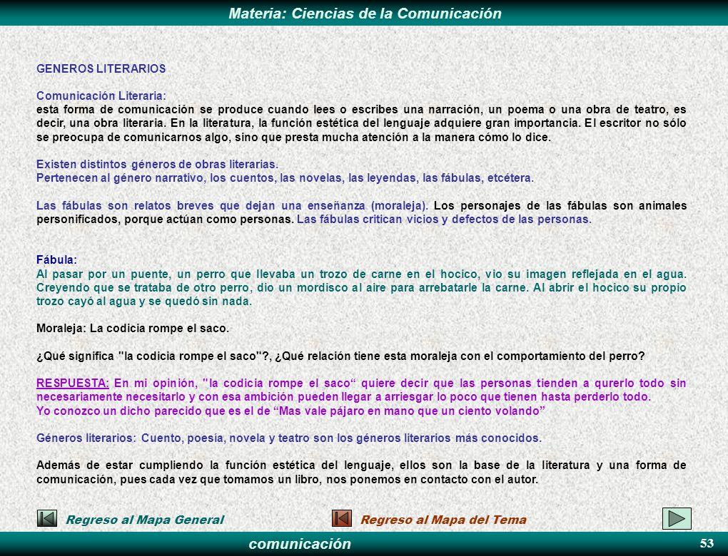 comunicación Materia: Ciencias de la Comunicación GENEROS LITERARIOS Comunicación Literaria: esta forma de comunicación se produce cuando lees o escri