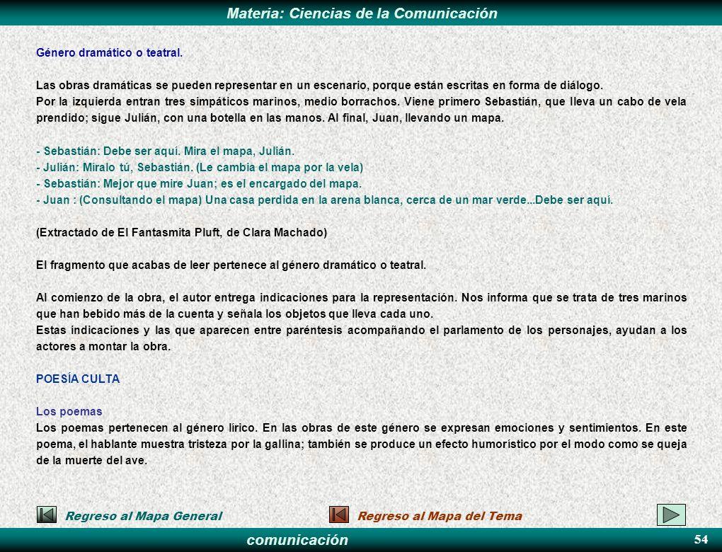 comunicación Materia: Ciencias de la Comunicación Género dramático o teatral. Las obras dramáticas se pueden representar en un escenario, porque están