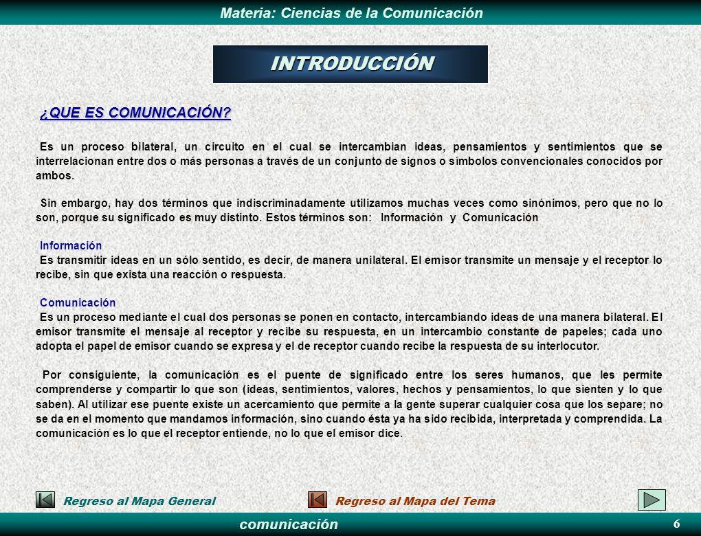 comunicación Materia: Ciencias de la Comunicación ¿QUE ES CIENCIA DE LA COMUNICACIÓN.