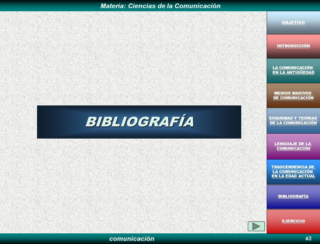 comunicación Materia: Ciencias de la ComunicaciónBIBLIOGRAFÍA OBJETIVO MEDIOS MASIVOS DE COMUNICACIÓN LA COMUNICACIÓN EN LA ANTIGÜEDAD ESQUEMAS Y TEOR