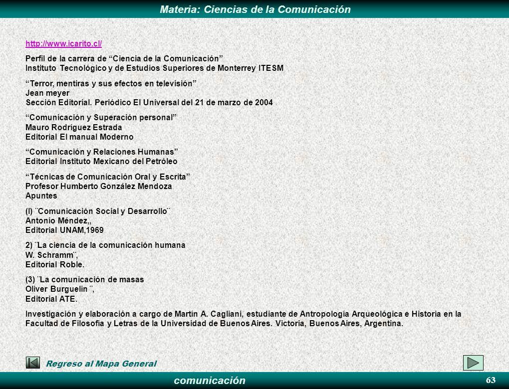 comunicación Materia: Ciencias de la Comunicación http://www.icarito.cl/ Perfil de la carrera de Ciencia de la Comunicación Instituto Tecnológico y de