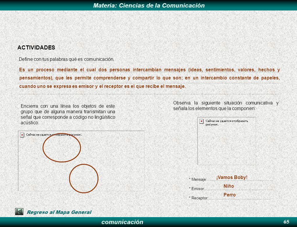comunicación Materia: Ciencias de la Comunicación ACTIVIDADES Define con tus palabras qué es comunicación.............................................