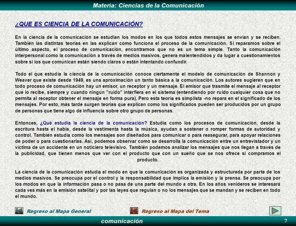 comunicación Materia: Ciencias de la ComunicaciónPASOS 28 6.