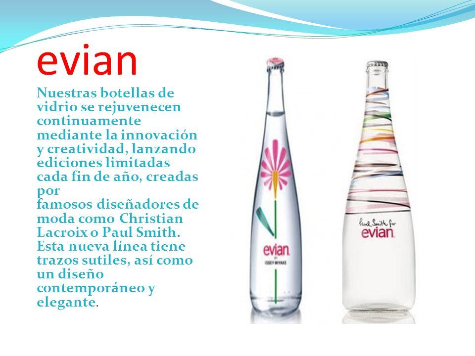 evian Nuestras botellas de vidrio se rejuvenecen continuamente mediante la innovación y creatividad, lanzando ediciones limitadas cada fin de año, cre