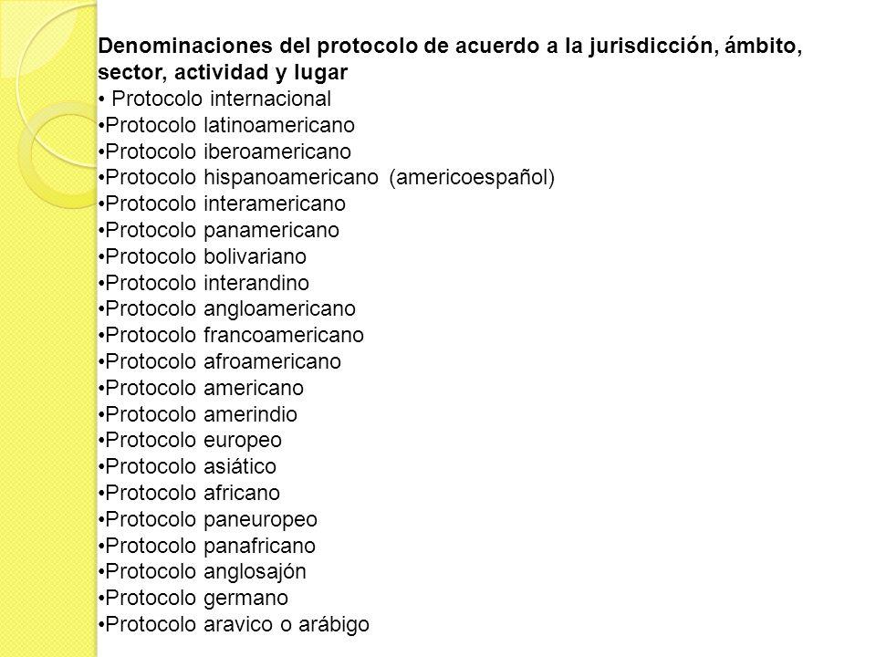 Denominaciones del protocolo de acuerdo a la jurisdicción, ámbito, sector, actividad y lugar Protocolo internacional Protocolo latinoamericano Protoco
