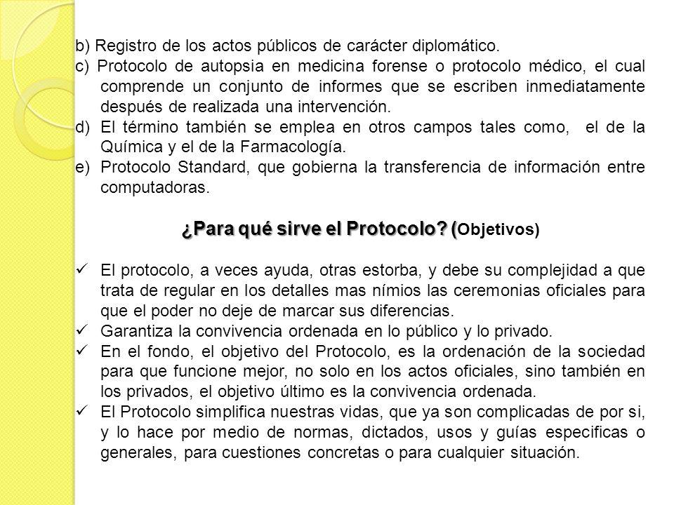 b) Registro de los actos públicos de carácter diplomático. c) Protocolo de autopsia en medicina forense o protocolo médico, el cual comprende un conju