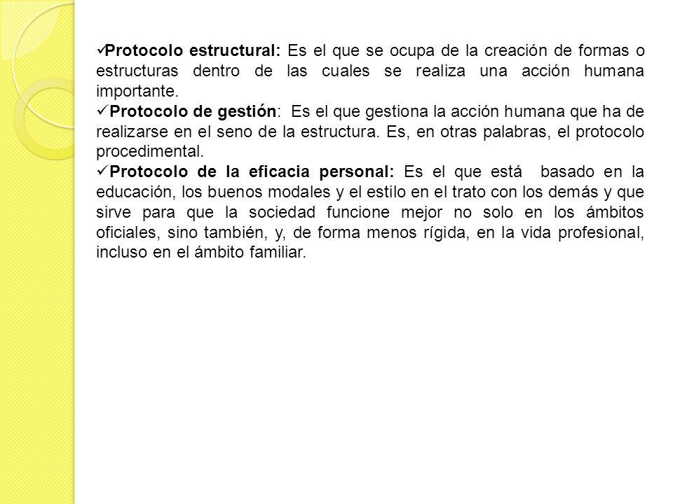 Protocolo estructural: Es el que se ocupa de la creación de formas o estructuras dentro de las cuales se realiza una acción humana importante. Protoco