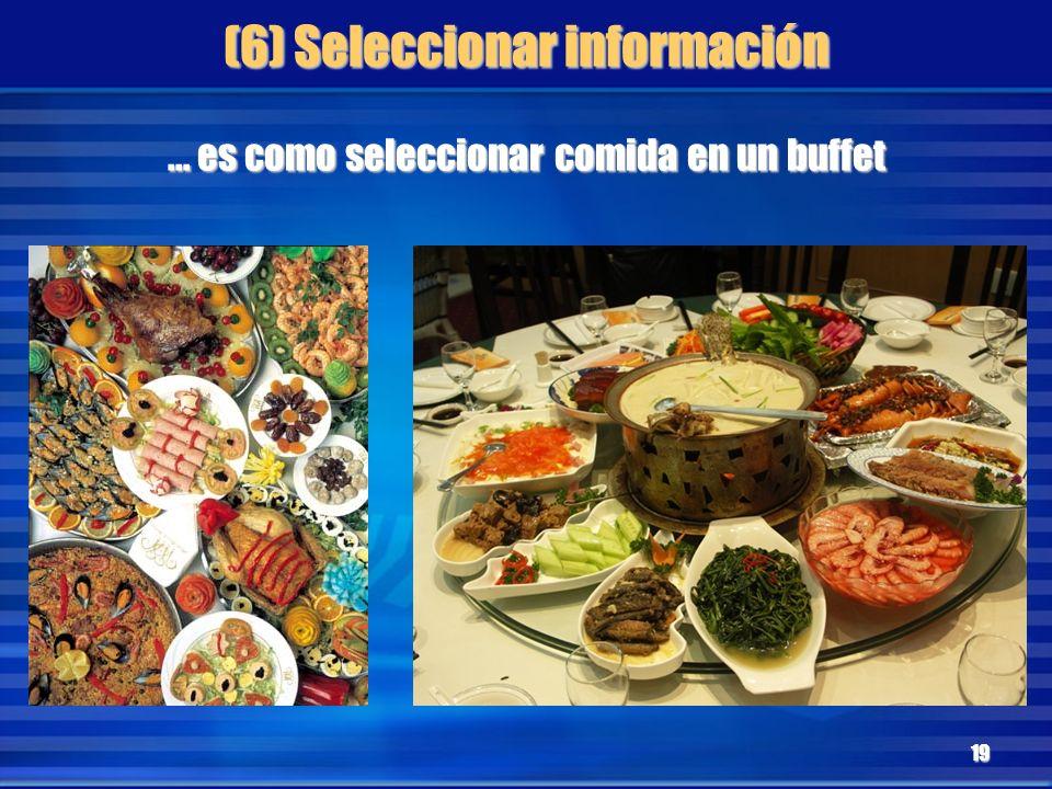 (6) Seleccionar información 19... es como seleccionar comida en un buffet