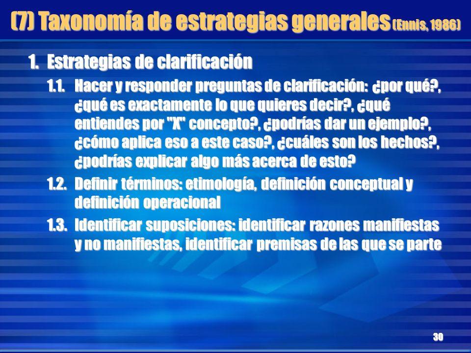 (7) Taxonomía de estrategias generales (Ennis, 1986) 1.Estrategias de clarificación 1.1.Hacer y responder preguntas de clarificación: ¿por qué?, ¿qué
