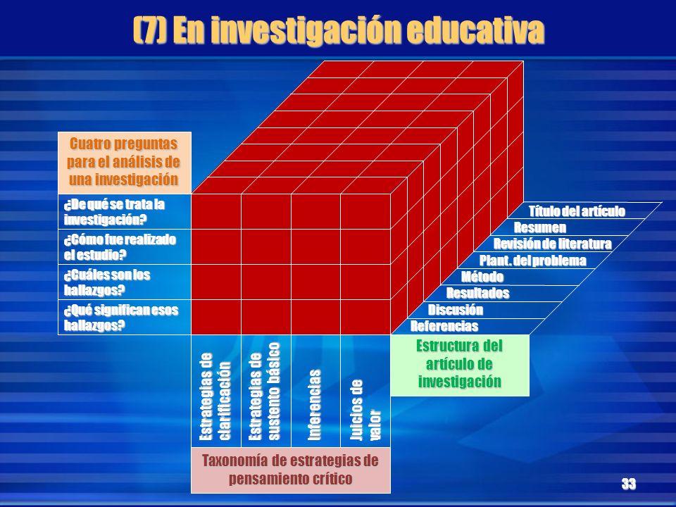 (7) En investigación educativa 33 ¿De qué se trata la investigación? ¿Cómo fue realizado el estudio? ¿Cuáles son los hallazgos? ¿Qué significan esos h