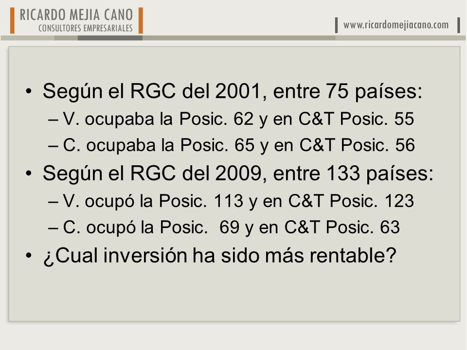 Según el RGC del 2001, entre 75 países: –V. ocupaba la Posic. 62 y en C&T Posic. 55 –C. ocupaba la Posic. 65 y en C&T Posic. 56 Según el RGC del 2009,