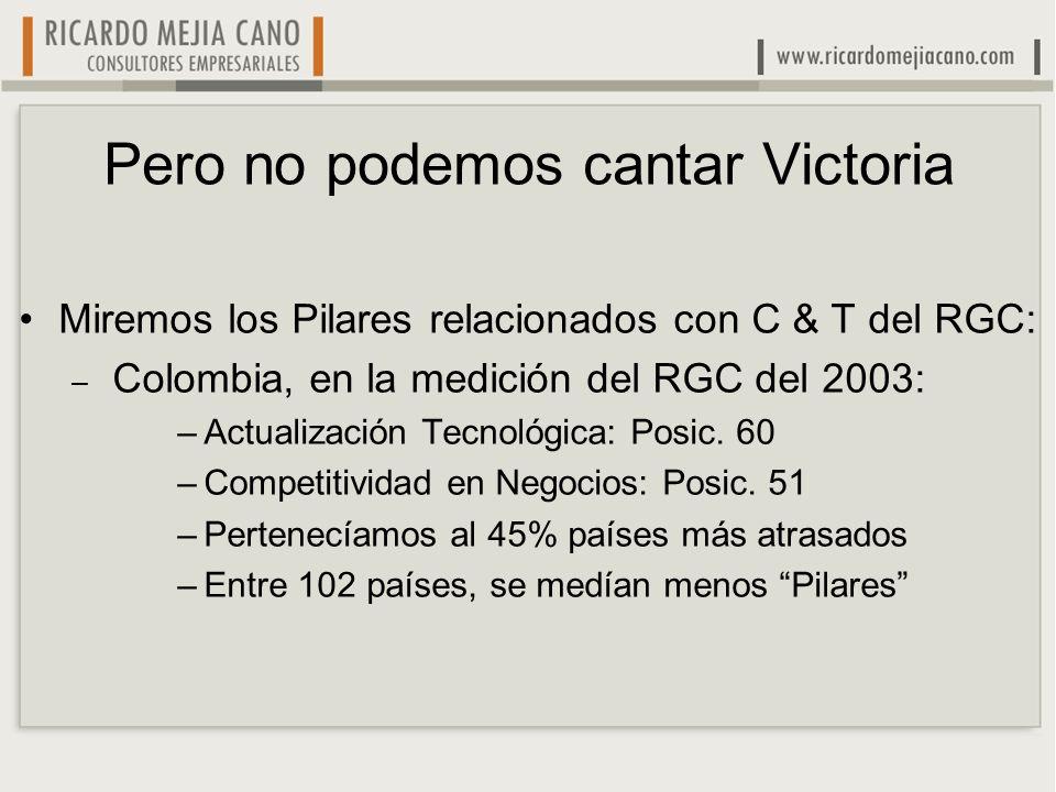 Pero no podemos cantar Victoria Miremos los Pilares relacionados con C & T del RGC: – Colombia, en la medición del RGC del 2003: –Actualización Tecnol