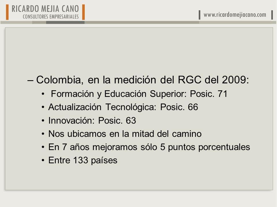 –Colombia, en la medición del RGC del 2009: Formación y Educación Superior: Posic. 71 Actualización Tecnológica: Posic. 66 Innovación: Posic. 63 Nos u