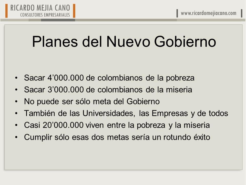 Planes del Nuevo Gobierno Sacar 4000.000 de colombianos de la pobreza Sacar 3000.000 de colombianos de la miseria No puede ser sólo meta del Gobierno