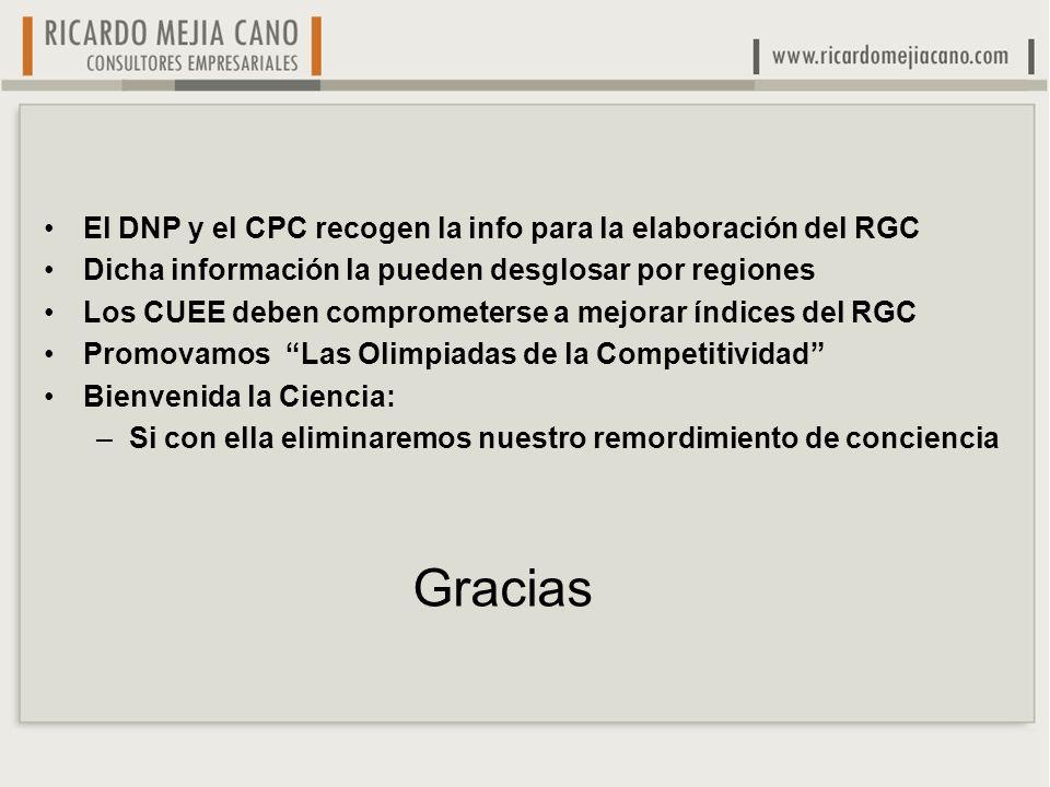 El DNP y el CPC recogen la info para la elaboración del RGC Dicha información la pueden desglosar por regiones Los CUEE deben comprometerse a mejorar