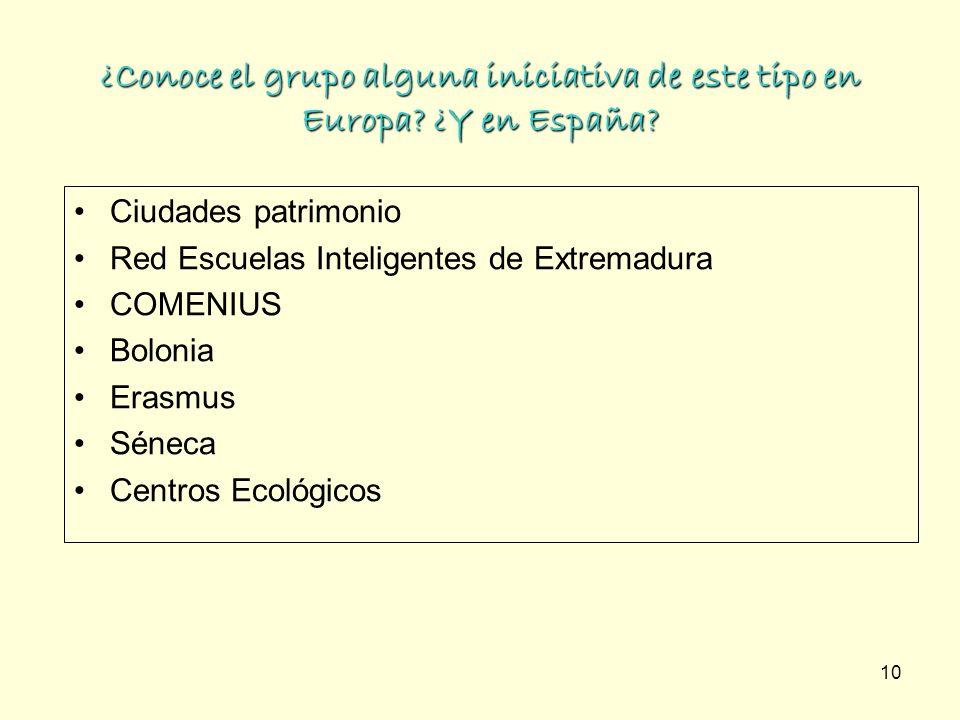 10 ¿Conoce el grupo alguna iniciativa de este tipo en Europa? ¿Y en España? Ciudades patrimonio Red Escuelas Inteligentes de Extremadura COMENIUS Bolo