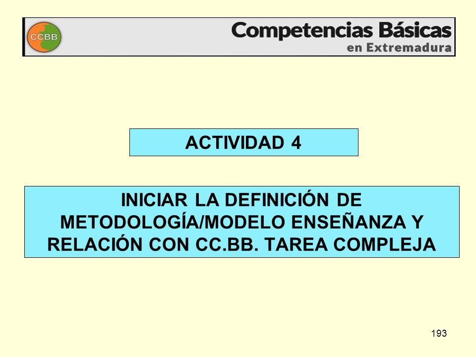 193 ACTIVIDAD 4 INICIAR LA DEFINICIÓN DE METODOLOGÍA/MODELO ENSEÑANZA Y RELACIÓN CON CC.BB. TAREA COMPLEJA