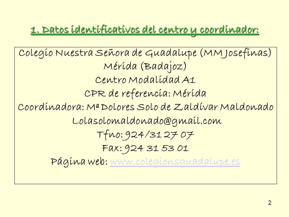 2 Colegio Nuestra Señora de Guadalupe (MM Josefinas) Mérida (Badajoz) Centro Modalidad A1 CPR de referencia: Mérida Coordinadora: Mª Dolores Solo de Z