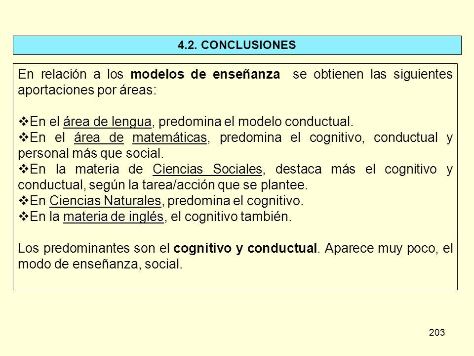 203 4.2. CONCLUSIONES En relación a los modelos de enseñanza se obtienen las siguientes aportaciones por áreas: En el área de lengua, predomina el mod