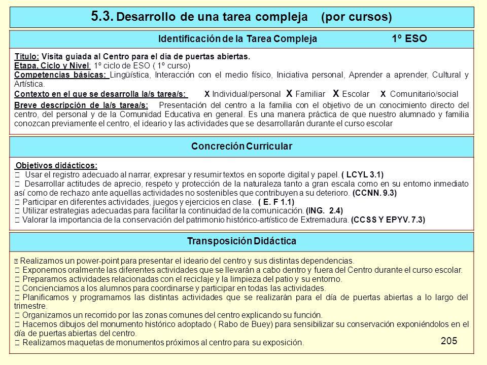 205 5.3. Desarrollo de una tarea compleja (por cursos) Identificación de la Tarea Compleja 1º ESO Título: Visita guiada al Centro para el día de puert