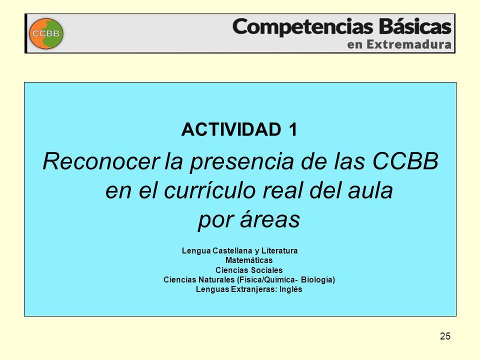 25 ACTIVIDAD 1 Reconocer la presencia de las CCBB en el currículo real del aula por áreas Lengua Castellana y Literatura Matemáticas Ciencias Sociales