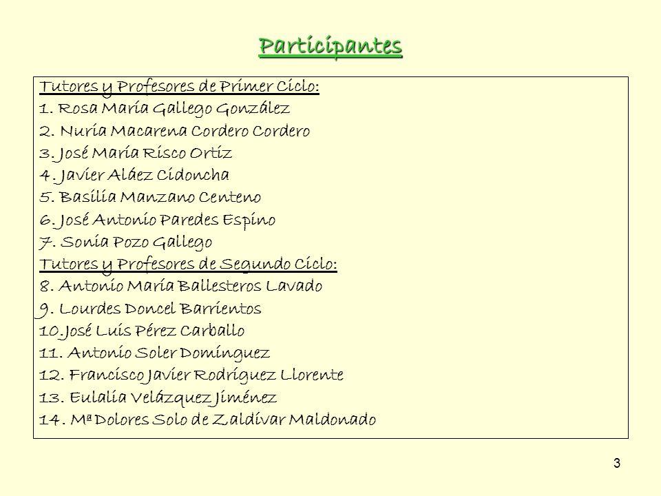 3 Participantes Tutores y Profesores de Primer Ciclo: 1. Rosa María Gallego González 2. Nuria Macarena Cordero Cordero 3. José María Risco Ortiz 4. Ja