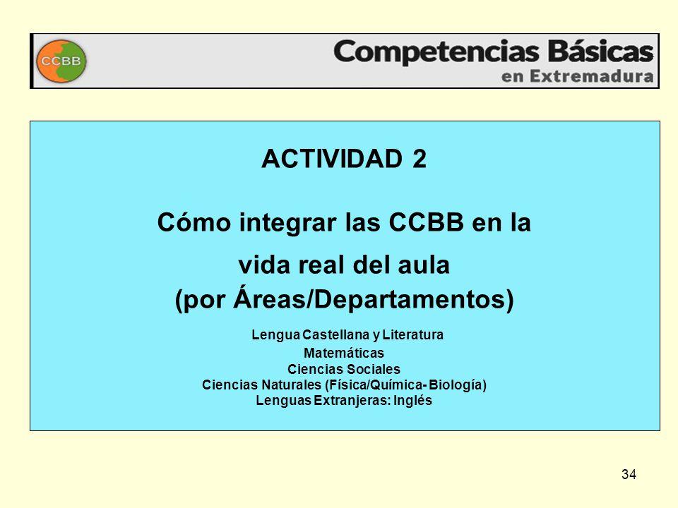 34 ACTIVIDAD 2 Cómo integrar las CCBB en la vida real del aula (por Áreas/Departamentos) Lengua Castellana y Literatura Matemáticas Ciencias Sociales