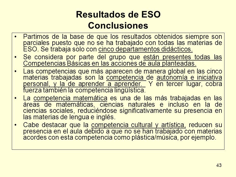 43 Resultados de ESO Conclusiones Partimos de la base de que los resultados obtenidos siempre son parciales puesto que no se ha trabajado con todas la