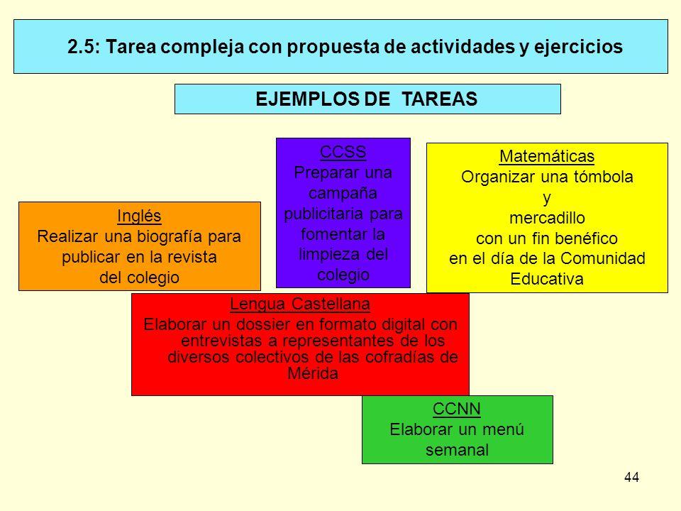 44 2.5: Tarea compleja con propuesta de actividades y ejercicios EJEMPLOS DE TAREAS Lengua Castellana Elaborar un dossier en formato digital con entre