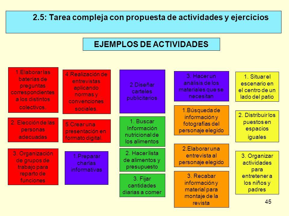 45 2.5: Tarea compleja con propuesta de actividades y ejercicios EJEMPLOS DE ACTIVIDADES 1.Elaborar las baterías de preguntas correspondientes a los d