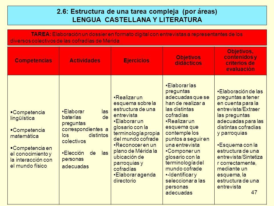 47 2.6: Estructura de una tarea compleja (por áreas) LENGUA CASTELLANA Y LITERATURA TAREA: Elaboración un dossier en formato digital con entrevistas a