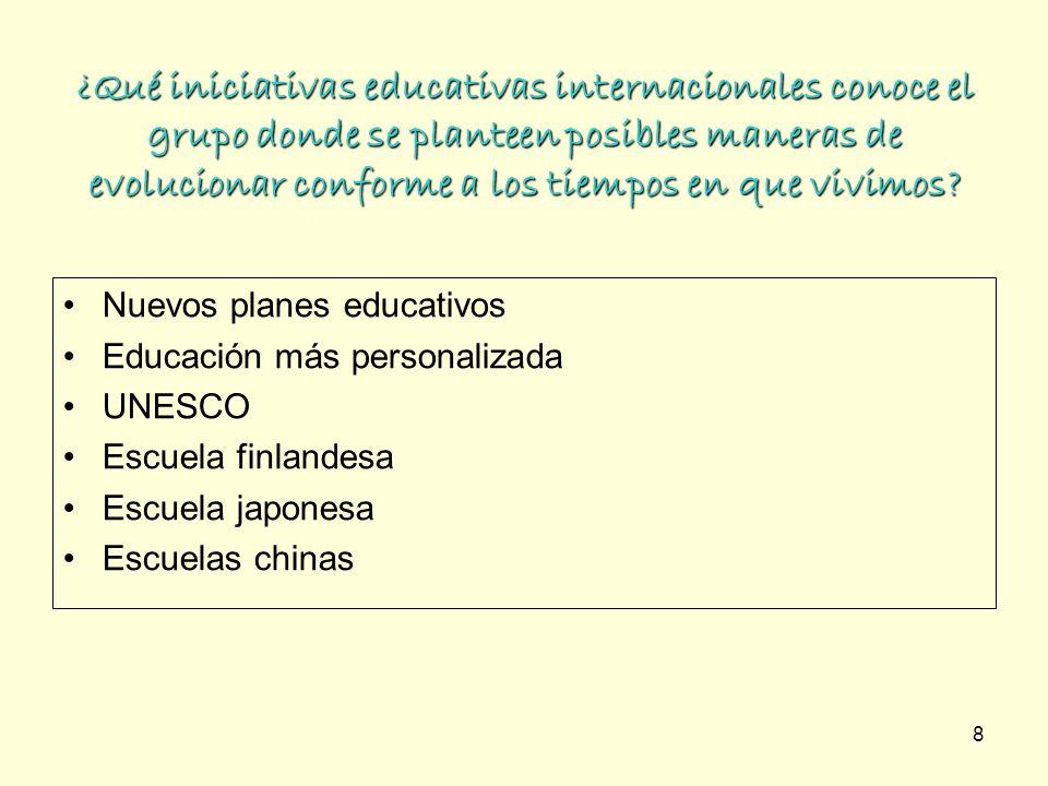 8 ¿Qué iniciativas educativas internacionales conoce el grupo donde se planteen posibles maneras de evolucionar conforme a los tiempos en que vivimos?