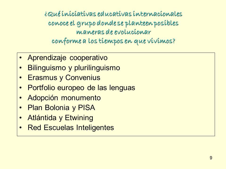 9 ¿Qué iniciativas educativas internacionales conoce el grupo donde se planteen posibles maneras de evolucionar conforme a los tiempos en que vivimos?